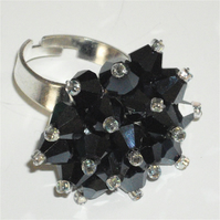 Metallic Grey Crystal Bead Ring