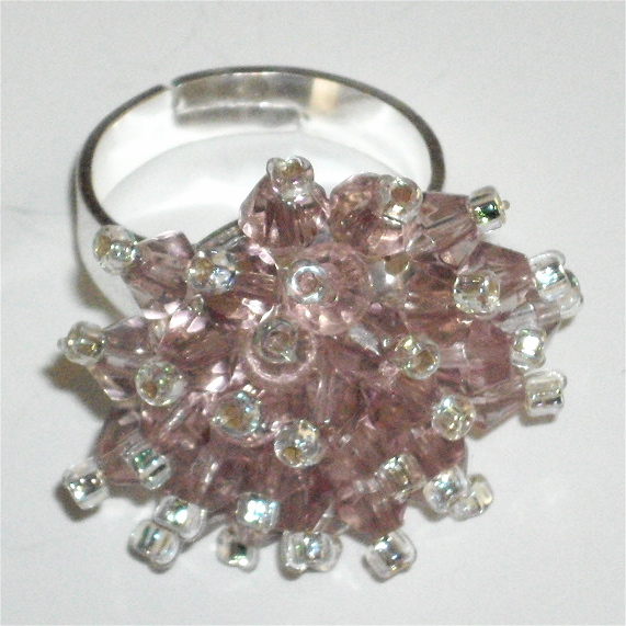 Beautiful Pale Pink Crystal Bead Ring