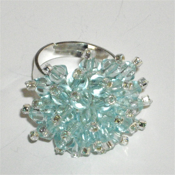 Beautiful Pale Blue Crystal Bead Ring