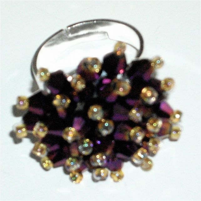 Beautiful Deep Purple Crystal Bead Ring