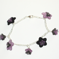 Pretty Purple and Black Flower Bracelet