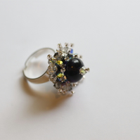 Swarovski Crystal and Purple Bead Adjustable Ring - UK Free Post