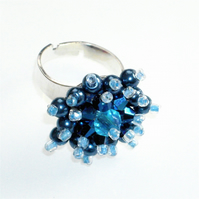 Metallic Blue Pearl and Crystal Bead Bling Ring - UK Free Post