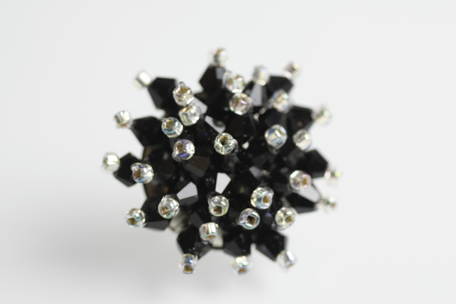 Black Adjustable Crystal Bling Ring