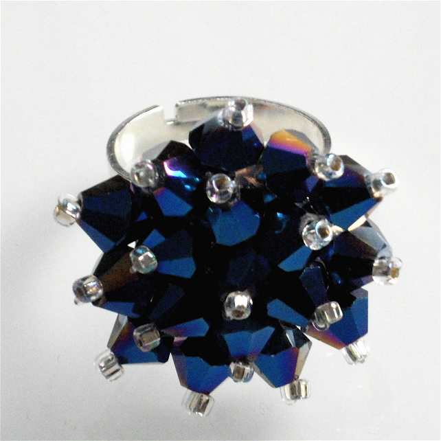 Metallic Blue Crystal Bead Bling Ring