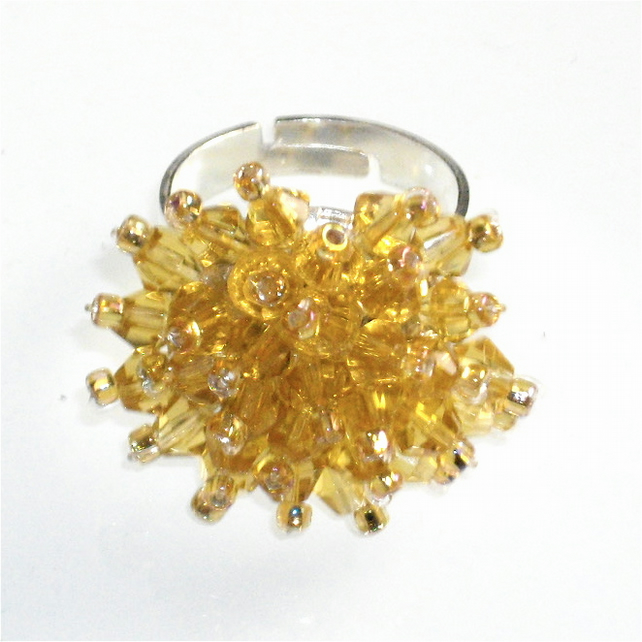 Beautiful Yellow Crystal Bead Ring