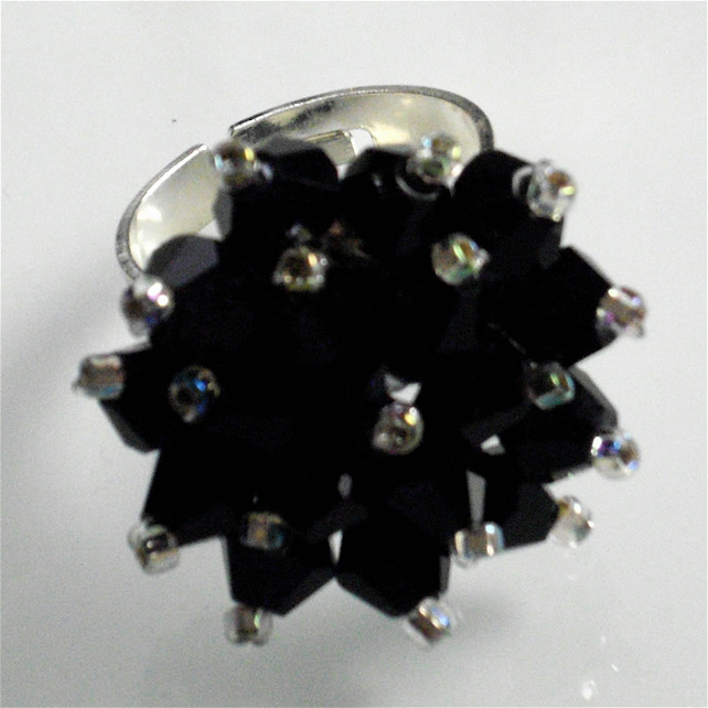 Black Crystal Bead Bling Ring