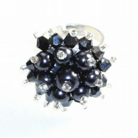 Metallic Grey Pearl and Crystal Bead Bling Ring - UK Free Post