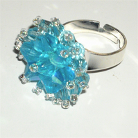 Blue Crystal Bead Bling Ring - UK Free Post