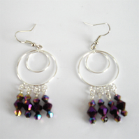Lovely Purple Crystal Bead Earrings - UK Free Post