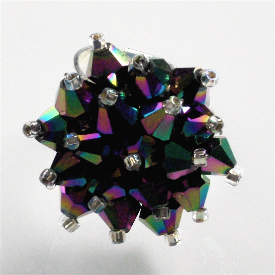 Purple Rainbow Crystal Bead Bling Ring