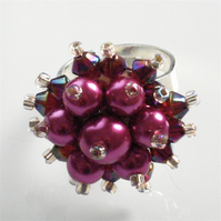 Hot Pink Pearl and Dark Fuchsia Crystal Bead Bling Ring - UK Free Post