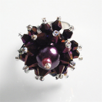 Deep Purple Pearl and Crystal Bead Adjustable Bling Ring - UK Free Post