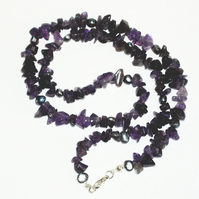 Amethyst and Freshwater Pearl Necklace - UK Free Post