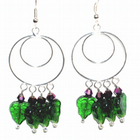 Lovely Green Leaf and Purple Crystal Bead Earrings