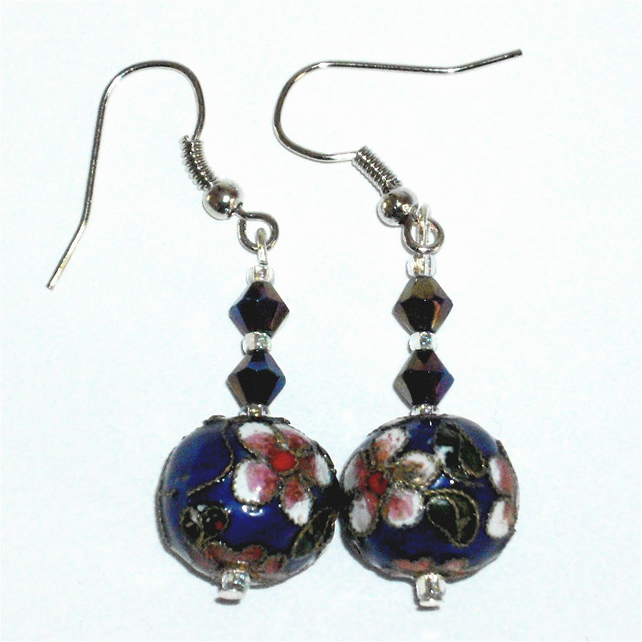 Beautiful Blue Cloisonne  Earrings