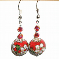 Beautiful Red Cloisonne  Earrings - UK Free Post