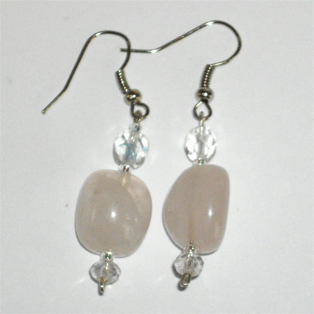 Beautiful Rose Quarz and Crystal Earrings