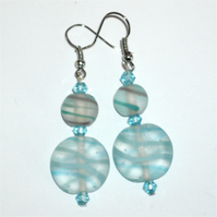 Lovely Blue Striped Glass Bead Earrings