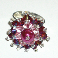 Pink Pearl and Crystal Bead Bling Ring - UK Free Post