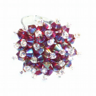 Dark Fushia Crystal Bead Ring