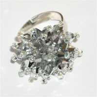 'Silver Diamond' Crystal Bead Ring - UK Free Post