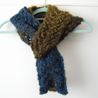 Blue Khaki and Brown Tones Skinny Lacy Knitted Scarf