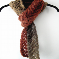 Pink and Brown Tones Skinny Lacy Knitted Scarf - UK Free Post