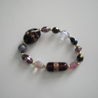 Elasticated Mixed Purple and Pink Glass Bracelet