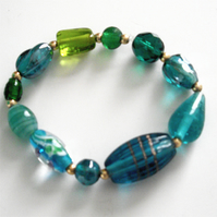 Elasticated Mixed Turquoise and Green Glass Bracelet