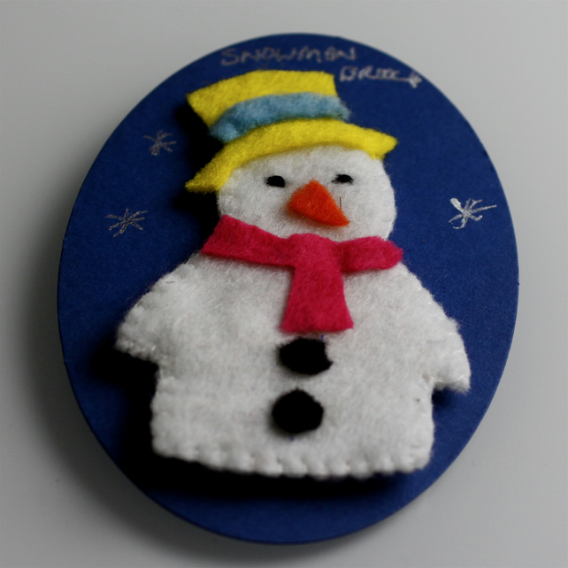 Cute Felt Snowman Brooch