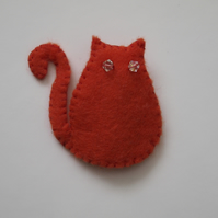 Fat Ginger Cat Brooch with Swarovski Crystal Eyes - UK Free Post