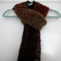 Pink and Brown Tones Skinny Hand Knitted Scarf - UK Free Post
