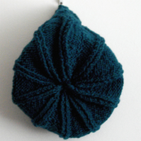 Dark Turquoise Aran Hand Knitted Hat - UK Free Post