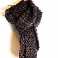 Brown Arran Tweed Hand Knitted Scarf