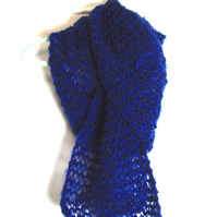 Electric Blue Hand Knitted Scarf - UK Free Post