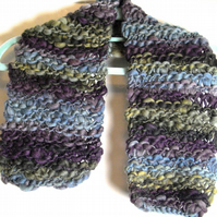 Short Fancy Yarn Hand Knitted Scarf