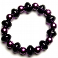 Purple Pearl and Glass Bead Bracelet