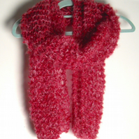 Red Hand Knitted Scarf - UK Free Post