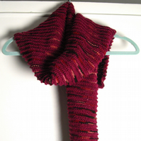 Dark Pink Multi Coloured Hand Knitted Scarf - UK Free Post