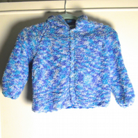 Soft Blue Childs Hooded Cardigan