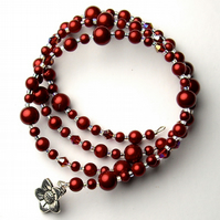 Red Pearl Bead and Crystal Memory Wire Bracelet - UK Free Post