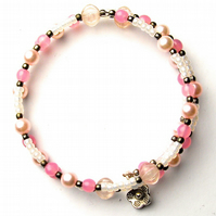 Pink and White Vintage Bead Memory Wire Bracelet - UK Free Post