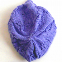 Pretty Hand Knit Purple Slouch Beret