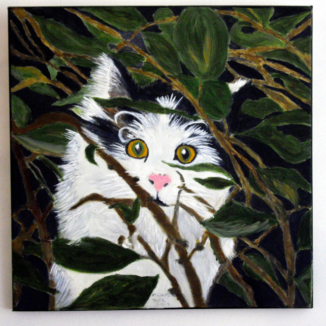 Peek-a-boo Cat Oil on Canvas Painting