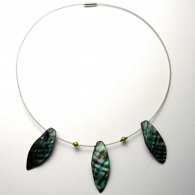 Turquoise Shell Leaf Necklace - UK Free Post