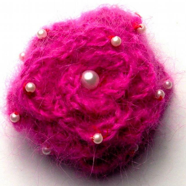 Pink Crocheted Flower Brooch With Mohair and Pearls