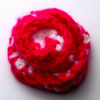 Dark Pink and White Crocheted Flower Brooch