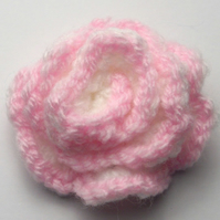 Pale Pink and White Crocheted Flower Brooch