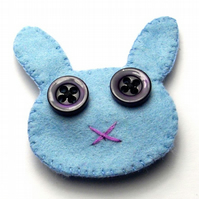 Blue Rabbit Felt Brooch - UK Free Post